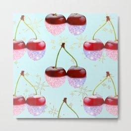Sparkle Cherries on Teal Metal Print