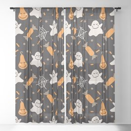 Happy hallowen ghosts, web, pumkins and sweets pattern Sheer Curtain