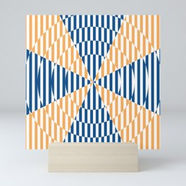 Crossing the lines - the blue and yellow  optical illusion Mini Art Print