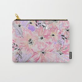 Modern pastel lilac pink watercolor flowers Carry-All Pouch