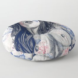 Nothing Violates This Nature: Blue (erotic drawing, nude butterfly girl) Floor Pillow