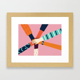 Holding hands circle Framed Art Print