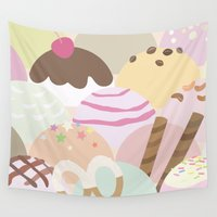ice cream Wall Tapestries featuring ice cream by Beryl Square