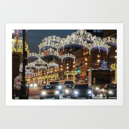 Light decorations on Nevsky Prospect. Art Print