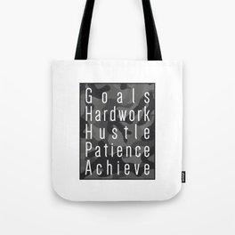 Way to success - goals, hardwork, hustle, patience, achieve Tote Bag