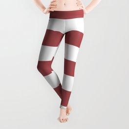 Rose vale - solid color - white stripes pattern Leggings