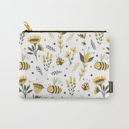 Bees and ladybugs. Gold and black Carry-All Pouch
