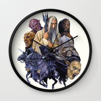 the lord of the rings Wall Clocks featuring SARUMAN the WHITE - LORD OF THE RINGS  by ROY  AIUTO