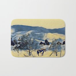 Indian Pony Yellow Winter by CheyAnne Sexton Bath Mat