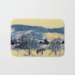 Indian Horse Pony Yellow Winter by CheyAnne Sexton Bath Mat