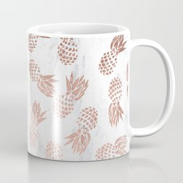 Modern faux rose gold pineapples white marble pattern Coffee Mug
