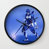 power ranger Wall Clocks featuring Blue Ranger by Isaiah K. Stephens