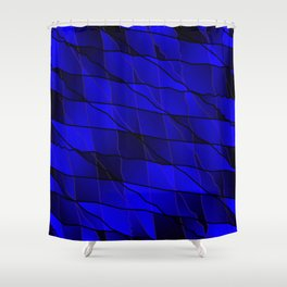 Mirrored gradient shards of curved blue intersecting ribbons and horizontal lines. Shower Curtain