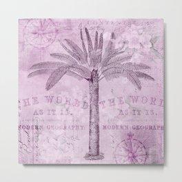 Pink Vintage Palm Tree And Travel Typography Art Metal Print