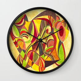 waves in warm colors Wall Clock