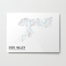 Deer Valley, UT - Minimalist Trail Art Metal Print