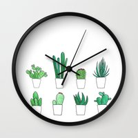 cacti Wall Clocks featuring Cacti by Aferova
