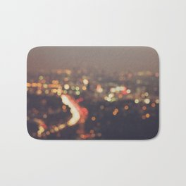 Los Angeles cityscape at night. Abstract Mulholland Bath Mat