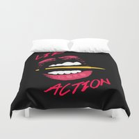 lip Duvet Covers featuring Lip Action by Kidney Theft