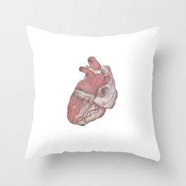 Human heart illustration - Pencil & Watercolor Throw Pillow