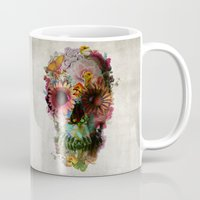 vintage flowers Mugs featuring SKULL 2 by Ali GULEC