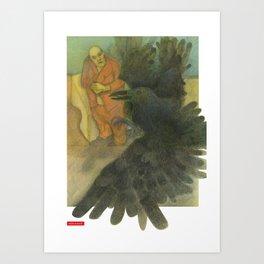 Fat Man and Bird Art Print