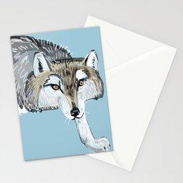 Totem Hokkaido grey wolf (Blue) Stationery Cards