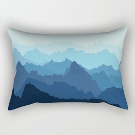 Mountains in Blue Fog Rectangular Pillow