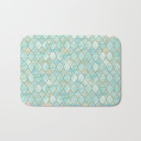 Luxury Aqua and Pink and Gold oriental pattern Bath Mat