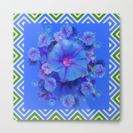 Baby Blue Morning Glories Green Floral Art Metal Print