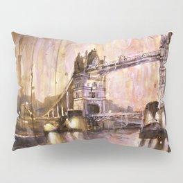 Watercolor painting of Tower Bridge at dusk- London, England Pillow Sham