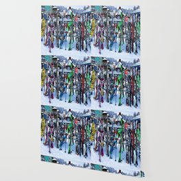 Ski Party - Skis and Poles Wallpaper