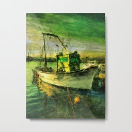 The Green Fisher Boat Metal Print