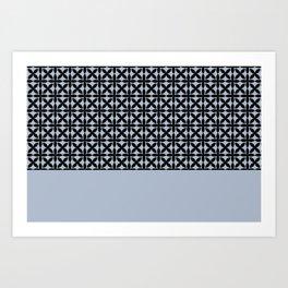 Black Square Petals Graphic Design Pattern  on PPG Paint Rendezvous Blue Art Print