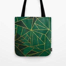 Emerald Green Geometric Gold Lines Tote Bag
