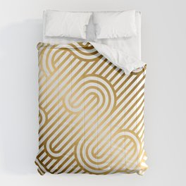 Art Deco Gold and White Geometric Ornate Pattern Comforters