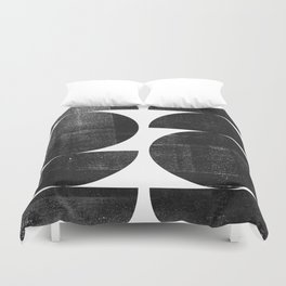Black and White Mid Century Modern Circles Abstract Duvet Cover