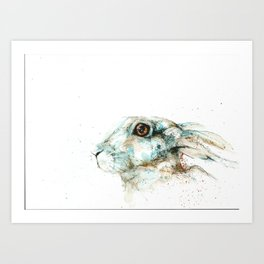 Scared blue hare Art Print