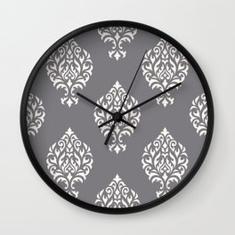 Orna Damask Pattern Cream on Grey Wall Clock