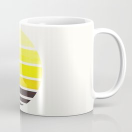 Yellow Mid Century Modern Minimalist Circle Round Photo Staggered Sunset Geometric Stripe Design Coffee Mug