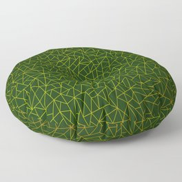 Gold Lowpoly in Green Background Floor Pillow