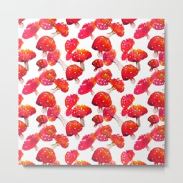 Fall toadstool watercolor pattern Metal Print