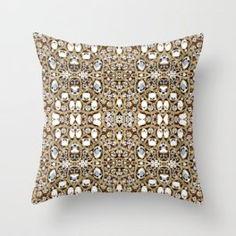 jewelry gemstone silver champagne gold crystal Throw Pillow