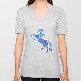 Celestial rearing blue horse Unisex V-Neck