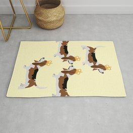 Crowned Basset Hound Dog Rug