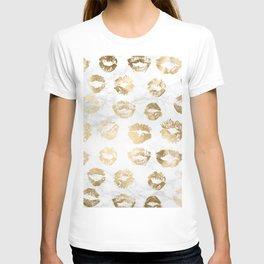 Fashion Lips Gold Lipstick on Marble T-shirt