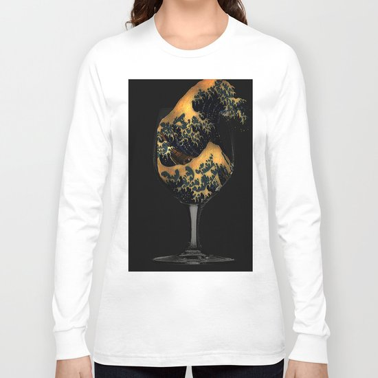 The Great wave in the glass Long Sleeve T-shirt