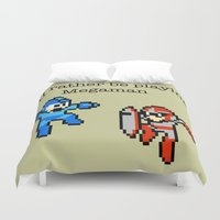 megaman Duvet Covers featuring I'd rather be playing Megaman by Mega8