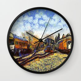 Train station reprint by Vincent van Gogh Wall Clock