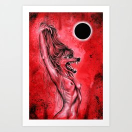 Let the red wolf in Art Print